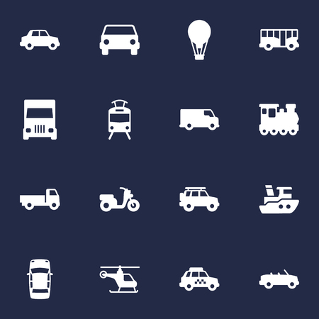 Set Of 16 Traffic Icons Set.Collection Of Side View, Streetcar, Hatchback And Other Elements.