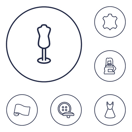 sewing machines: Collection Of Dummy, Buttons, Tailor And Other Elements.  Set Of 6 Sewing Outline Icons Set.