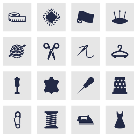 hangers: Collection Of Roll, Knitting, Skin And Other Elements.  Set Of 16 Sewing Icons Set.