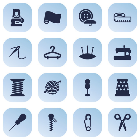 threading hair: Set Of 16 Tailor Icons Set.Collection Of Tailor, Machine, Pintle And Other Elements.
