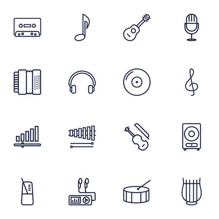 drumming: Set Of 16 Melody Outline Icons Set.Collection Of Percussion, Amplifier, Wooden Block And Other Elements.