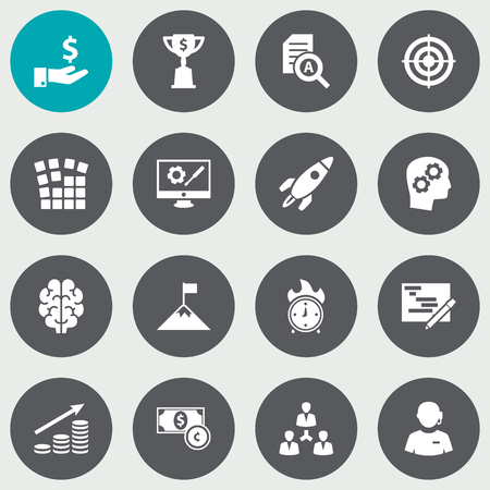 Collection Of Unity, Intelligence, Writing And Other Elements.  Set Of 16 Startup Icons Set. Illusztráció