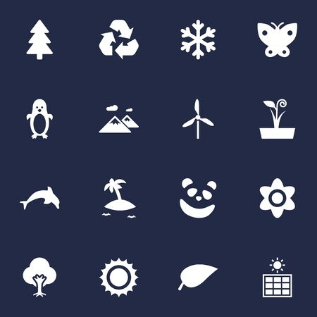 Collection Of Tree, Pinnacle, Foliage And Other Elements.  Set Of 16 Natural Icons Set. Illustration