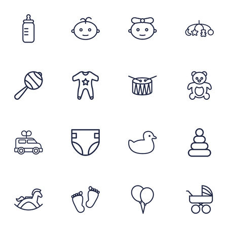Collection Of Baby, Footprints, Balloon And Other Elements. Set Of 16 Baby Outline Icons Set.