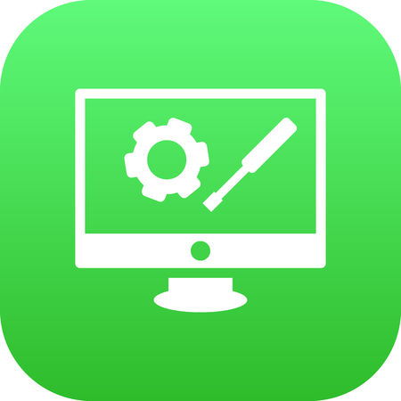 Vector Repair Service Element In Trendy Style.  Isolated Development Icon Symbol On Clean Background.