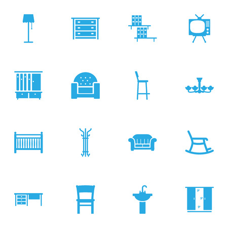 hangers: Set Of 16 Situation Icons Set.Collection Of Stool, Coat Stand, Luster Elements. Illustration