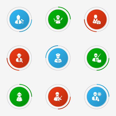 Set Of 9 Job Icons Set.Collection Of Scholarly, Leaner, Journalist And Other Elements.