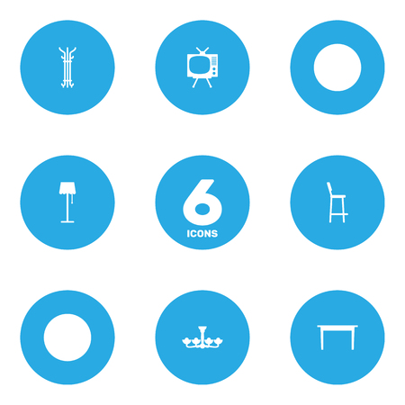 Set Of 6 Set Icons Set.Collection Of Illuminator, Television, Luster And Other Elements.