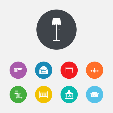 Set Of 9 Situation Icons Set.Collection Of Cot, Couch, Bookcase And Other Elements.
