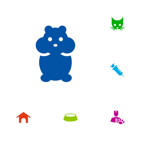 doghouse: Set Of 6 Mammal Icons Set.Collection Of Dish, Cat, Home And Other Elements. Illustration