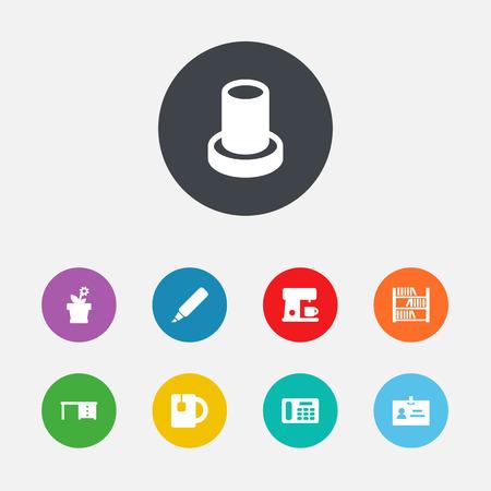 Ensemble de 9 icônes de bureau ensemble. Collection de livre, téléphone, éléments de stand.
