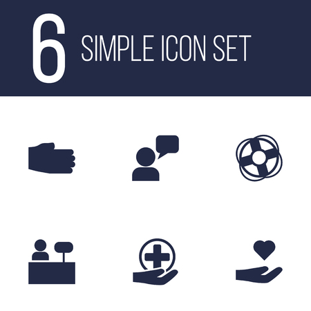 survive: Collection Of Care;, Reception, Assistant And Other Elements.  Set Of 6 Backing Icons Set.