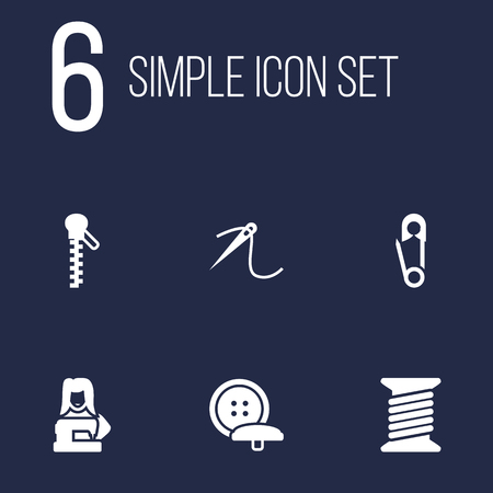 hangers: Collection Of Tailor, Pintle, Clothier And Other Elements.  Set Of 6 Sewing Icons Set.