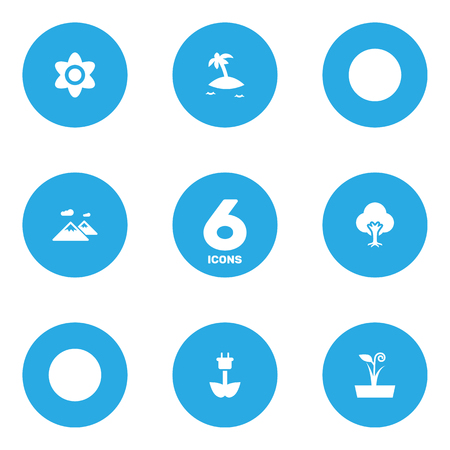 Set Of 6 Bio Icons Set.Collection Of Green Power, Tree, Bloom And Other Elements.
