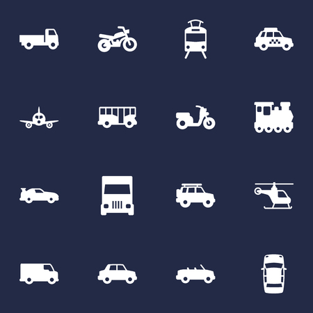 omnibus: Set Of 16 Transport Icons Set.Collection Of Wagon, Coupe, Side View And Other Elements.