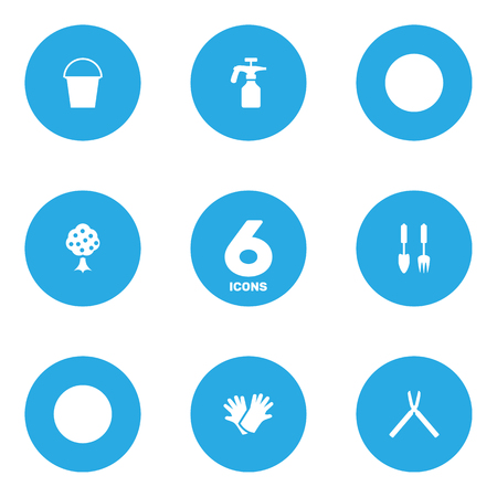 Set Of 6 Household Icons Set.Collection Of Garden, Latex, Tools And Other Elements.
