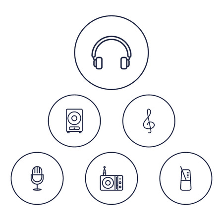 bracket: Set Of 6 Melody Outline Icons Set.Collection Of Pace, Amplifier, Loudspeaker And Other Elements.