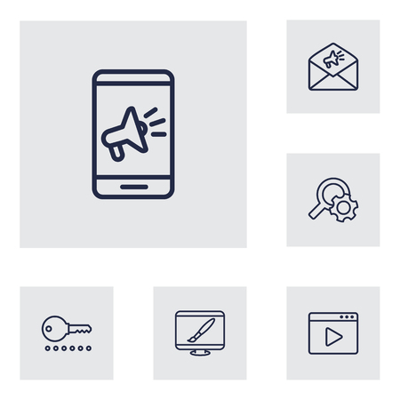 Set Of 6 Search Outline Icons Set.Collection Of Marketing, Advertising, Item Identifier And Other Elements.