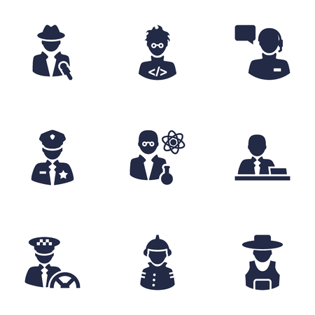 Set Of 9 Position Icons Set.Collection Of Officer, Coder, Journalist And Other Elements. Illustration