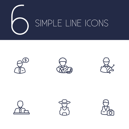 commander: Set Of 6 Position Outline Icons Set.Collection Of Manager, Photographer, Artist And Other Elements. Illustration