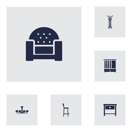 bedside: Set Of 6 Decor Icons Set.Collection Of Chair, Bedside Table, Wardrobe And Other Elements.