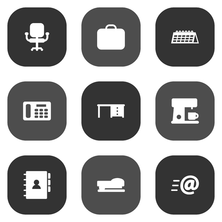 kitchen cabinets: Set Of 9 Workspace Icons Set.Collection Of Sew, Espresso, Message And Other Elements.