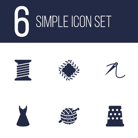 hangers: Set Of 6 Tailor Icons Set.Collection Of Knitting, Spool, Eyelet And Other Elements.