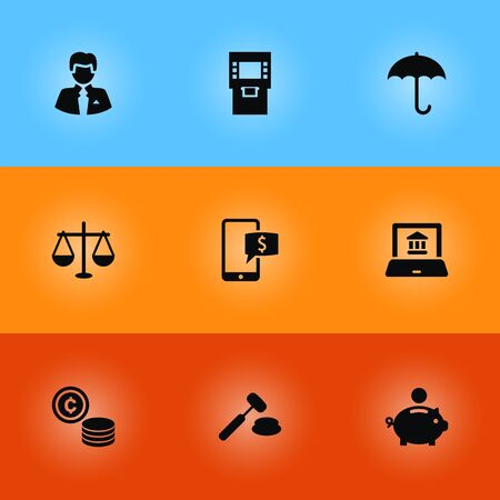 sunshade: Set Of 9 Budget Icons Set.Collection Of Cash, Balance, Piggy Bank And Other Elements.