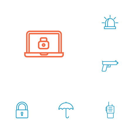 security monitor: Set Of 6 Security Outline Icons Set.Collection Of Alarm, Lock, Parasol And Other Elements.