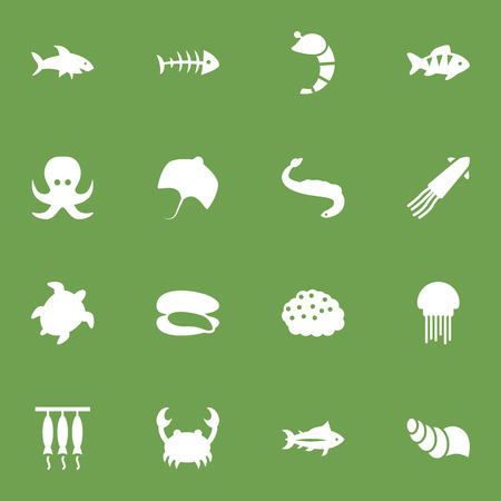 Set Of 16 Seafood Icons Set.Collection Of Shell, Remains, Calamary And Other Elements. Illustration