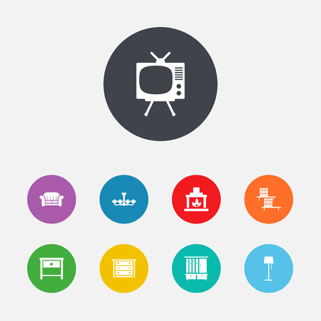 lcd tv: Set Of 9 Set Icons Set.Collection Of Television, Couch, Commode And Other Elements.