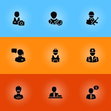 principal: Conjunto de 9 iconos de profesiones Set.Colección de agente de dinero, camarógrafo, administrador y otros elementos.