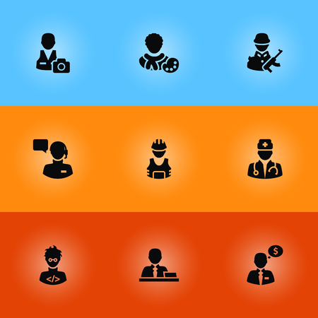 Set Of 9 Professions Icons Set.Collection Of Money Agent, Cameraman, Manager And Other Elements.
