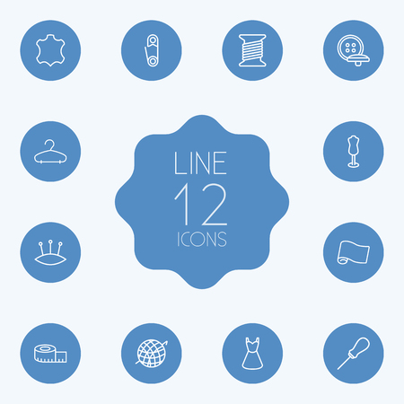 Set Of 12 Sewing Outline Icons Set