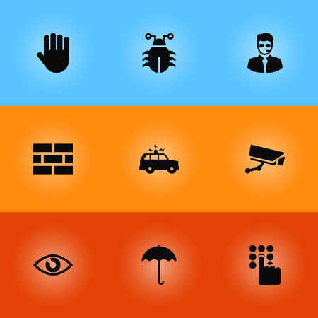 pin code: Set Of 9 Security Icons Set