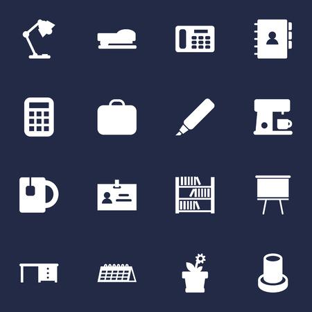 Set Of 16 Bureau Icons Set Illustration