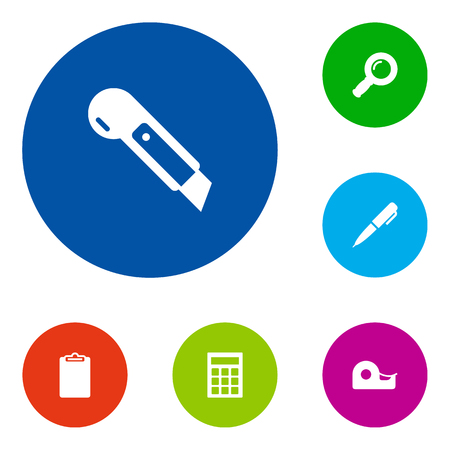 Set Of 6 Tools Icons Set.Collection Of Calculate, Knife, Sticky And Other Elements. Illustration
