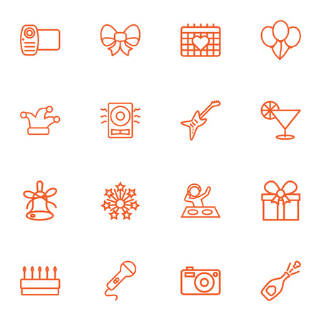 Set Of 16 Cocktail Outline Icons Set.Collection Of Bow, Pastry, Alcohol And Other Elements. Illustration