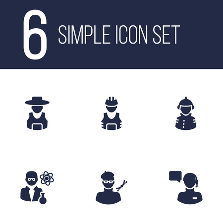 scholarly: Set Of 6 Position Icons Set.Collection Of Producer, Scholarly, Planner And Other Elements. Illustration