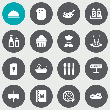 Set Of 16 Cafe Icons Set.Collection Of Pepperoni, Food, Condiments And Other Elements.