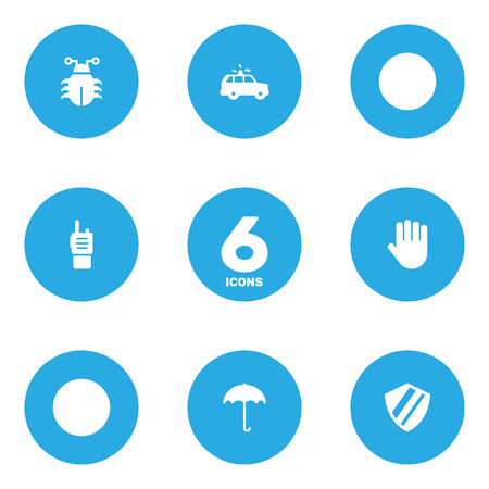 automobile door: Set Of 6 Procuring Icons Set.Collection Of Protection , Remote , Hand Elements.