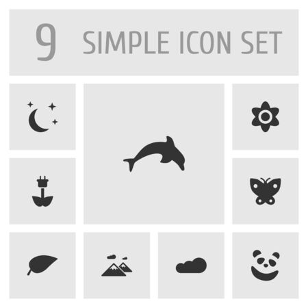pinnacle: Set Of 9 Bio Icons Set.Collection Of Green Power, Pinnacle, Grampu And Other Elements.