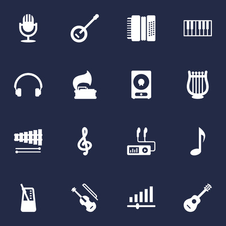 Set Of 16 Song Icons Set.Collection Of Turntable, Lyre, Audio Device And Other Elements. Illustration