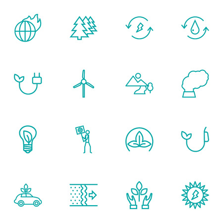 Set Of 16 Bio Outline Icons Set.Collection Of Renewable Energy, Ecol, Fuel And Other Elements. Ilustrace