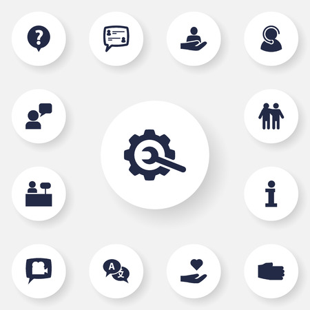 Set Of 13 Support Icons Set.Collection Of Assistant, Help, Gear And Other Elements.