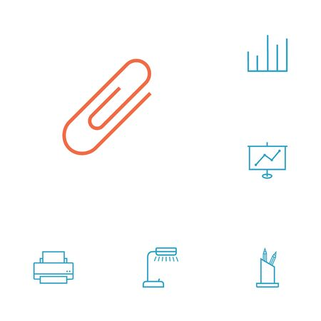 stapled: Set Of 6 Work Outline Icons Set.Collection Of Pen Storage, Show, Reading-Lamp And Other Elements.