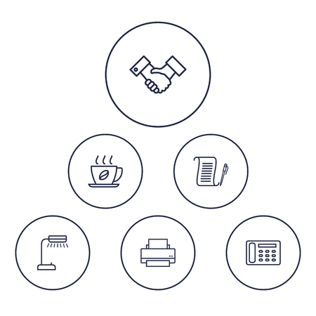 printout: Set Of 6 Work Outline Icons Set.Collection Of Hot Drink, Contacts, Agreement And Other Elements.