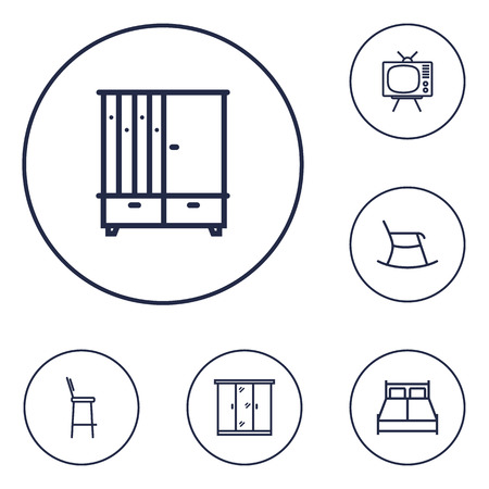 Set Of 6 Situation Outline Icons Set.Collection Of Tv Set, Closet, Double Bed And Other Elements.