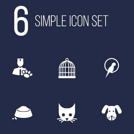 Set Of 6 Pets Icons Set.Collection Of Birdcage, Head, Cat And Other Elements.