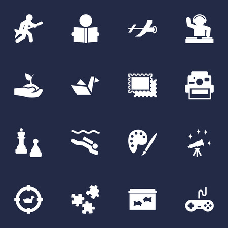 Set Of 16 Entertainment Icons Set.Collection Of Checkmate, Drawing, Learning And Other Elements.